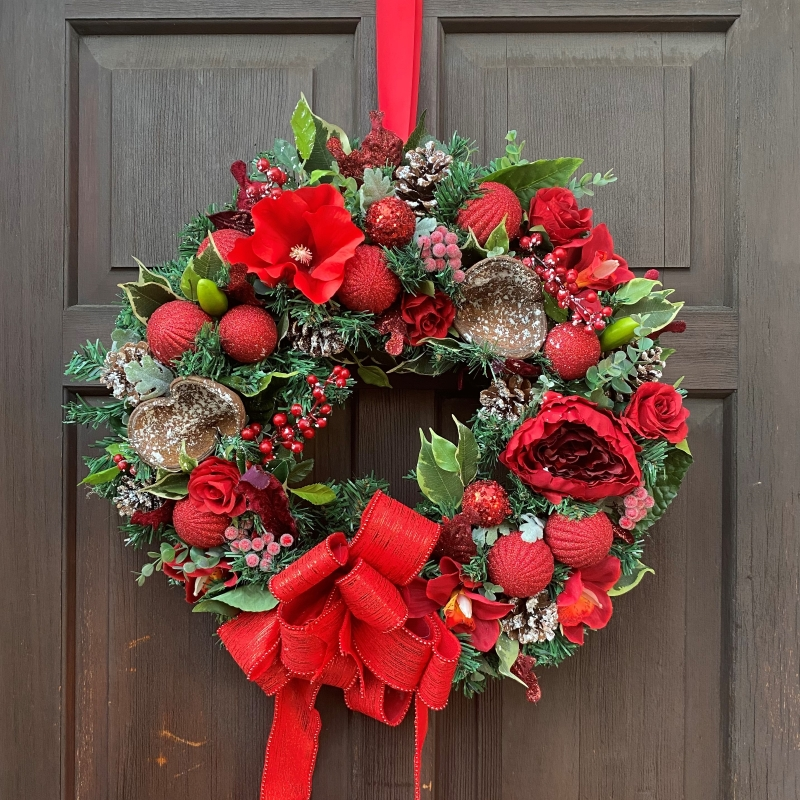 Red   Forever door wreath