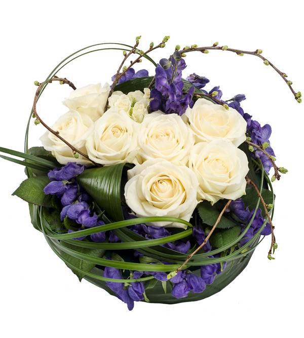 PP10 White Rose and Purple Posy Pad