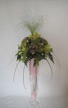 Tall vase arrangement, pastel
