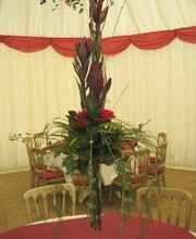 Red tall table arrangements