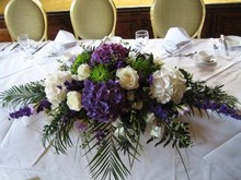 Purple and white table design