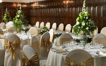 Table arrangements in green and white