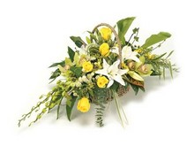 Funeral Basket Large Yellow & White